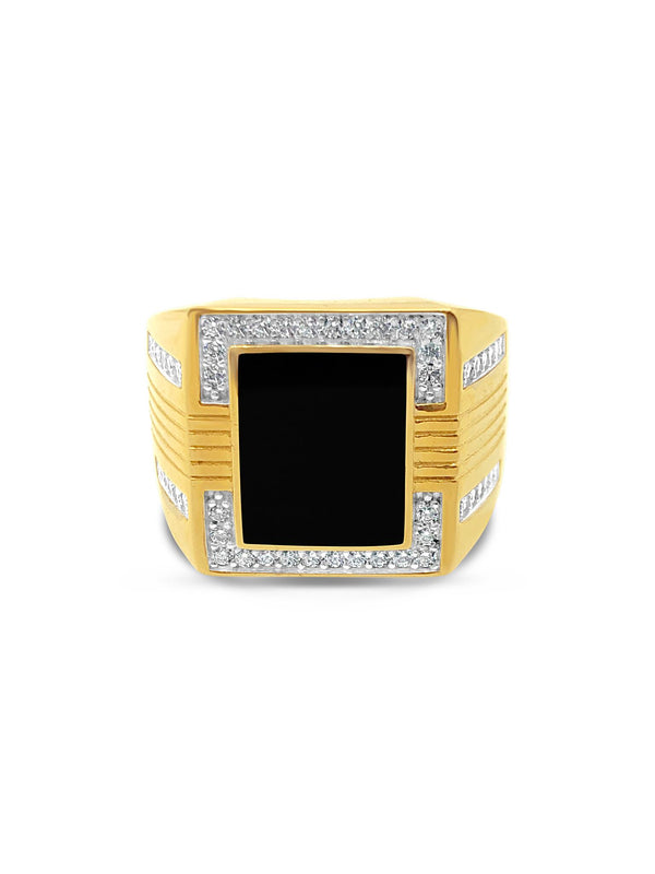 Men's Onyx and Cubic Zirconia Frame Signet Ring in 14k Yellow Gold