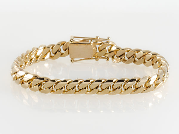 "14k Yellow Gold Miami Cuban Link Bracelet 9"" 10mm"