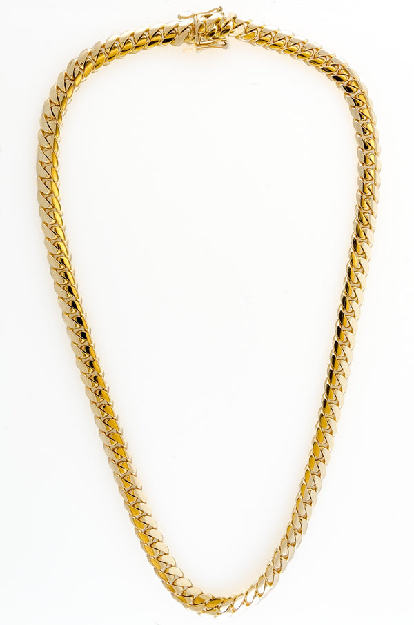 "14k Yellow Gold Miami Cuban Link Chain 25"" 10.2mm"