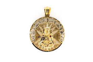 14k Yellow Gold Saint Barbara Charm Pendant 34.7 Grams