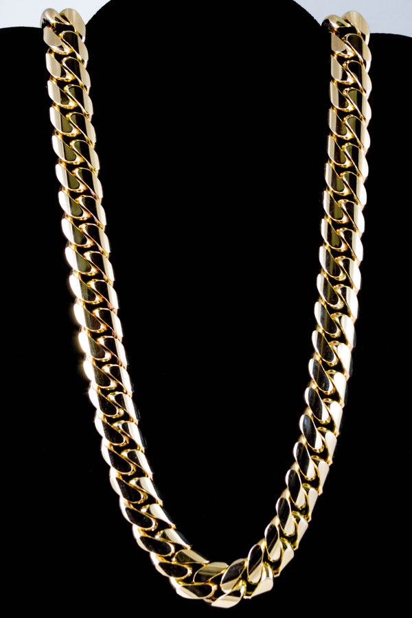 "14k Yellow Gold Miami Cuban Link Chain 29 ½"" 16mm"