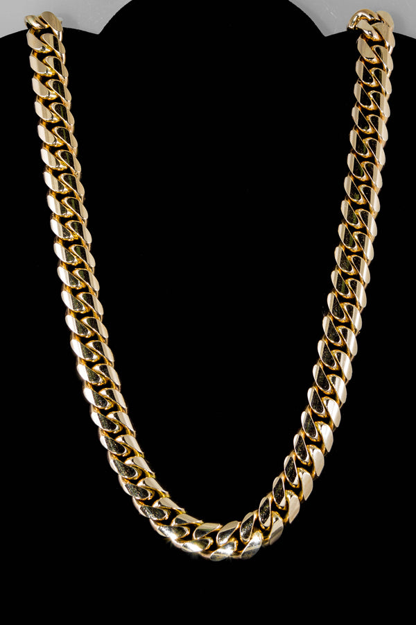 "14k Yellow Gold Miami Cuban Link Chain 28"" 15.3mm"