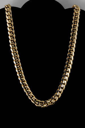 "14k Yellow Gold Miami Cuban Link Chain 28"" 13.4mm"