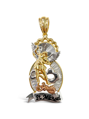 14k Yellow Gold Saint Michael Pendant 29.7 Grams