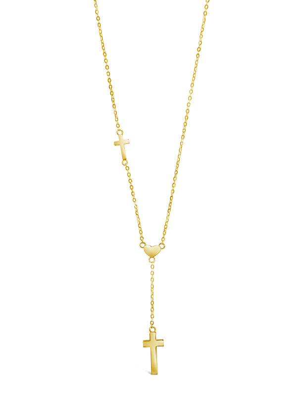 14k Yellow Gold Heart & Double Cross Pendant Necklace