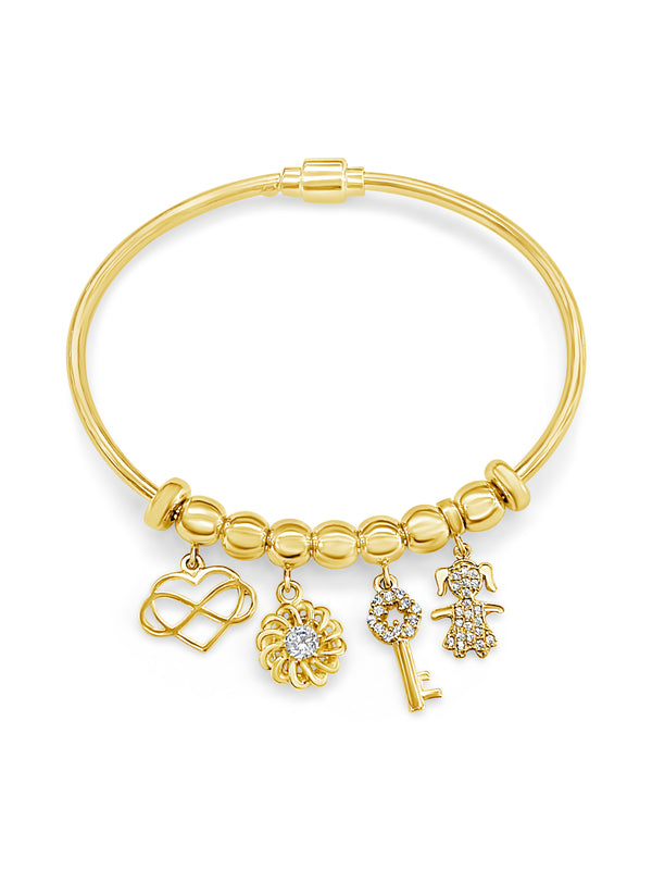 14k Yellow Gold Multi Charm Bracelet