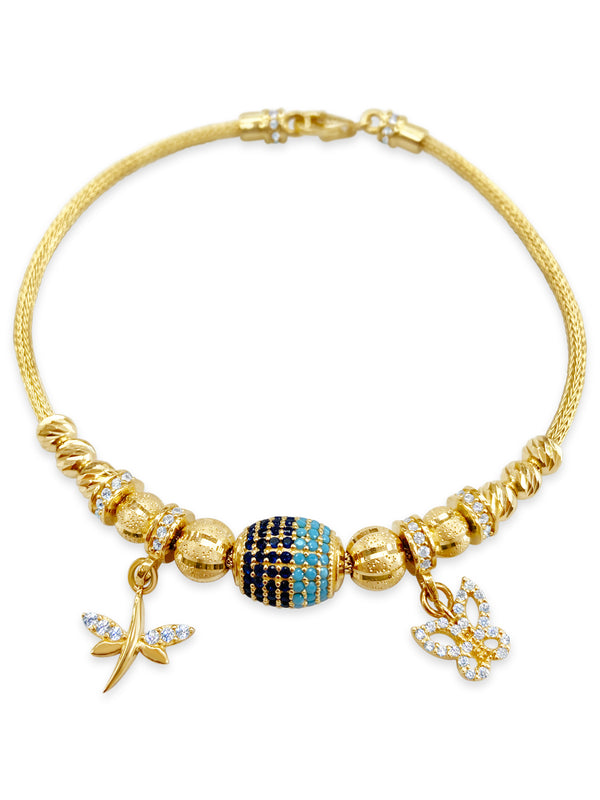 14k Yellow Gold Butterfly and Dragonfly Charm Bracelet