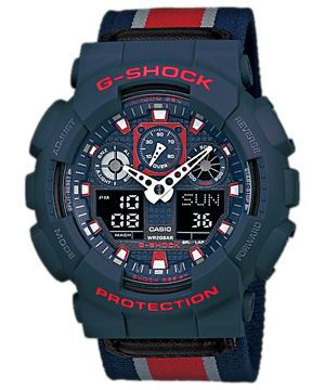 G-Shock Men's Analog-Digital Red Striped Navy Cloth Strap Watch 51x55mm GA100MC-2A