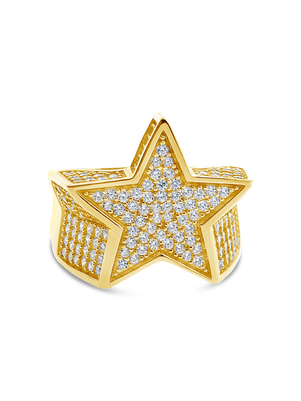 Men's Huge Five Pointed Star Cubic Zirconia Ring