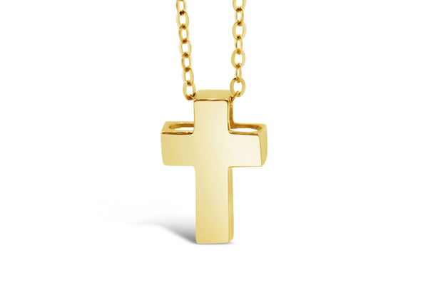 14k Yellow Gold 3D Block Cross Pendant Necklace