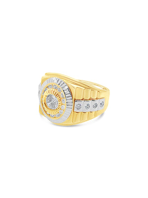 Men's Cubic Zirconia Rectangular Anniversary Ring in 14k Two-Tone Gold
