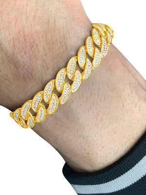 Cuban Link Bracelet in 14k Yellow Gold With Cubic Zirconia Stones