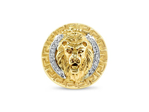 Men's 14k Yellow Gold Lion Head Diamond Ring