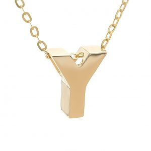 14k Yellow Gold Initial Pendant Necklace