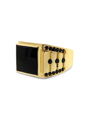 Men's Onyx Ring in 14k Yellow Gold with Enhanced Black Cubic Zirconia Stones