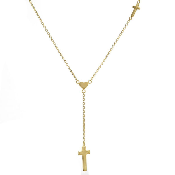 14k Yellow Gold Heart & Crosses Pendant Necklace