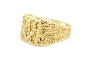 Men's Freemason Masonic Band Ring in 14k Yellow Solid Gold