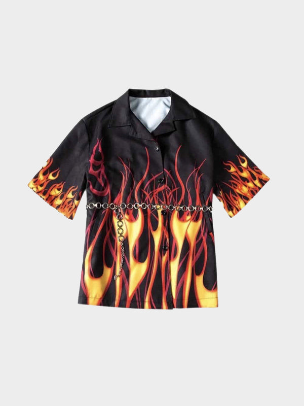 black shirt with fine yellow flames degraded in red which start from the bottom of the shirt and on the sleeves with a chain belt