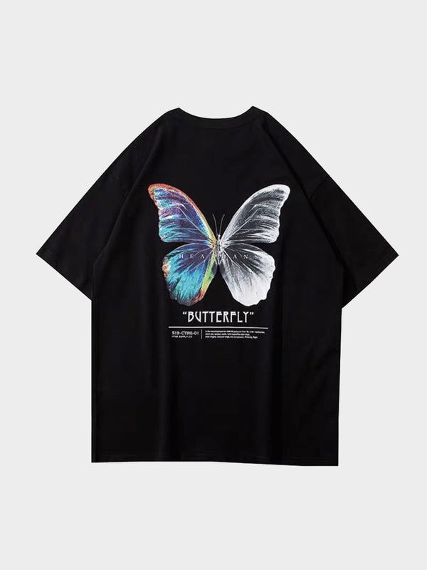back view, black tshirt with a big butterly printed. One side is multicolor and the other in black and white