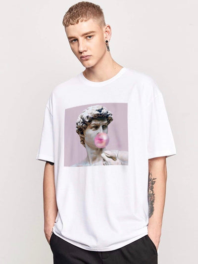 white tshirt with a picture of David, the sculpture of Michelangelo, making a pink bubble gum