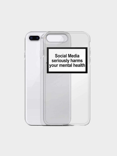 transparent soft case  with the mention social media seriously harms your mental health for iphone