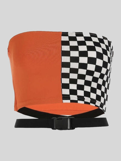 split orange and black and white checkered crop top with a long strap with a plastic buckle to close it under the bandeau