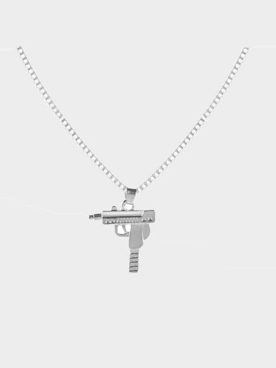 silver plated uzi pendant necklace
