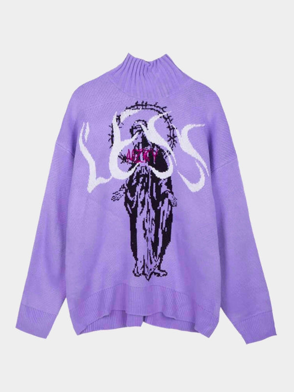 "purple knitted sweater with the Virgin Mary in black and her head is surrounded by a large crown of barbed wire. A red inscription is sewn on his chest and the white word ""LESS"" occupies all the space available on the chest"