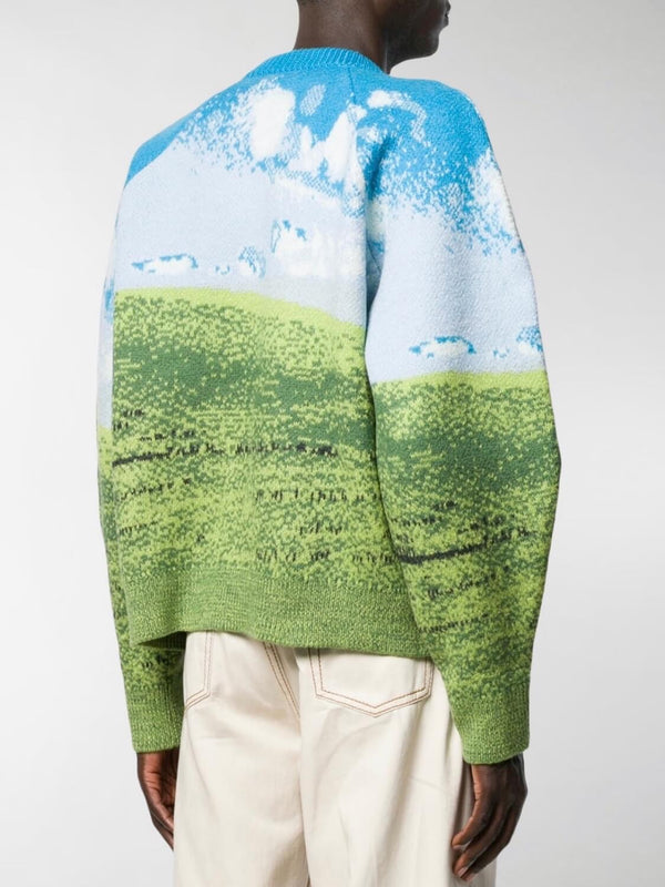 back view of our old school windows wallpaper knitter sweater