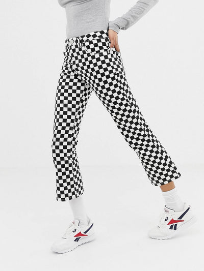 straight black and white checkered full zipper pants