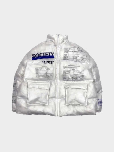 white transparent pvc puffy jacket with two front pockets and several texts in black