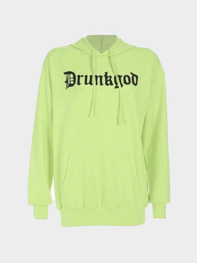 neon green hoodie with gothic letters which form the word drunkgod