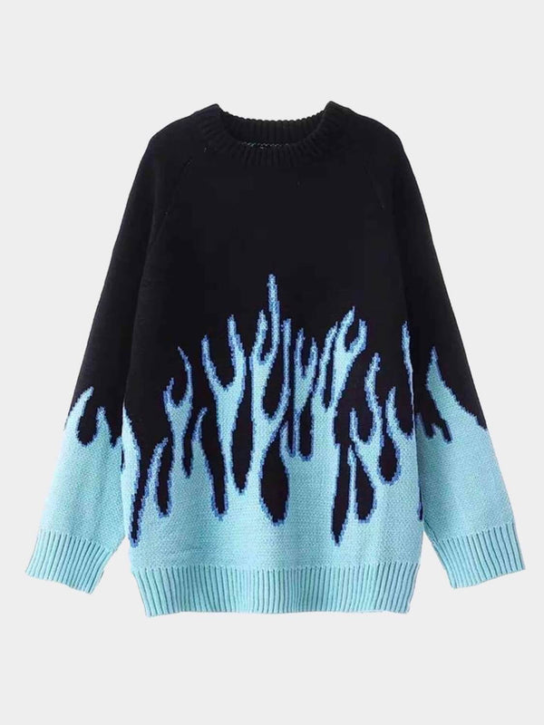 front view of our  black knitter sweater with light blue flames stating from all over the bottom of it even on the sleeves