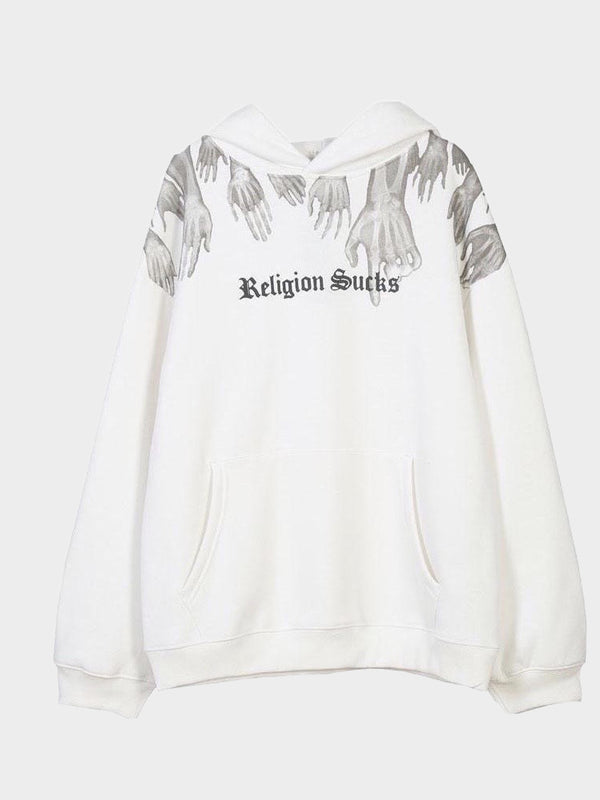 white hoodie with a front pocket, religion sucks written in black on the chest in gothic letters with x-ray hands leaving from the top of the sweater
