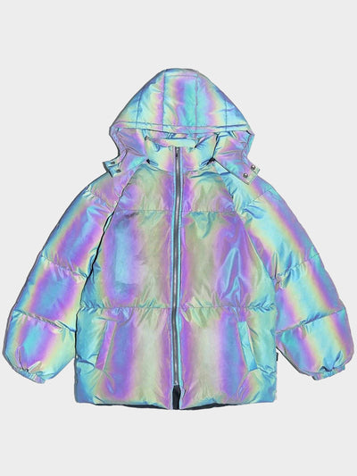 oversize puffy reflective hooded parka vh studios with two front pockets front view