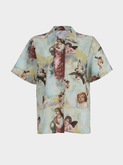 front view of the angels shirt with angels and biblical characters on a sky background