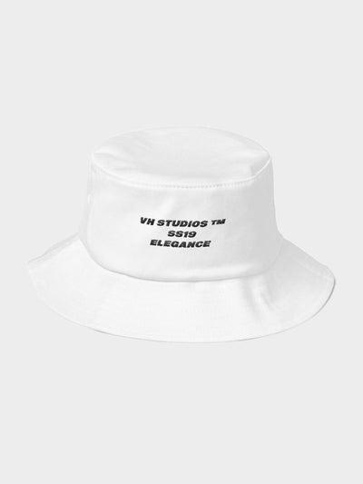 white old school bucket hat vh studios elegance collection with a black capital letters text vh studios ss19 elegance