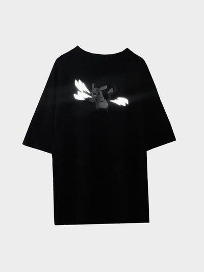 black pikachu tshirt with reflective lightning