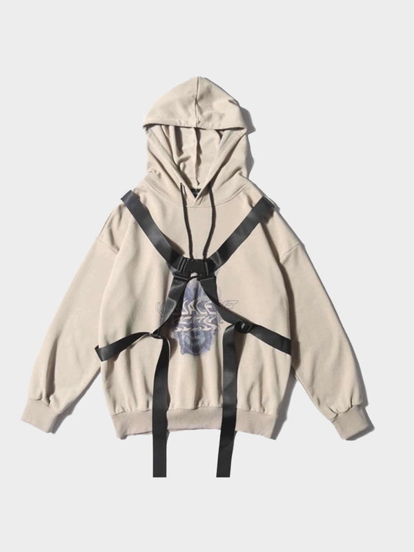 beige hoodie with black tactical long straps
