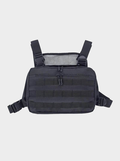 simple pouch with two compartiments black adjustable chest bag