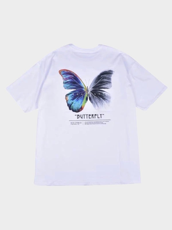 back view, white tshirt with a big butterly printed. One side is multicolor and the other in black and white
