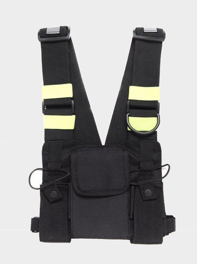 chest bag military with four reflective piece of fabric. It features one big pocket on the front and it is adjustable