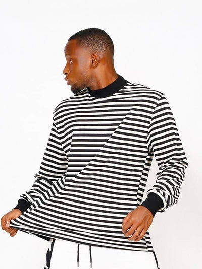 black and white striped sweater with black wrists and collar