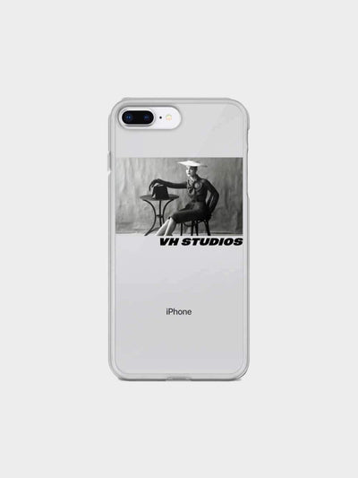 Transparent soft case vh studio with a picture in black and white of an elegant woman sat at a table for iPhone 7 Plus/8 Plus