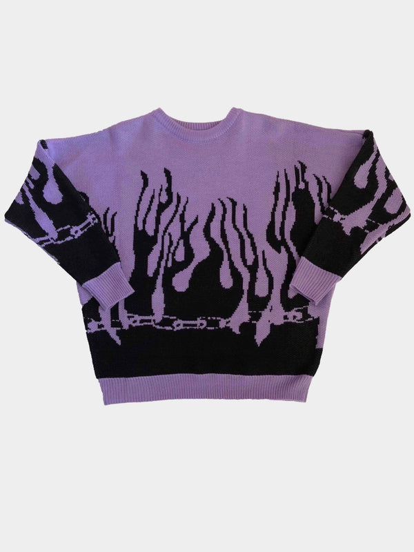 purple knitted sweater with black flames starting from the bottom of the sweater and the wrists