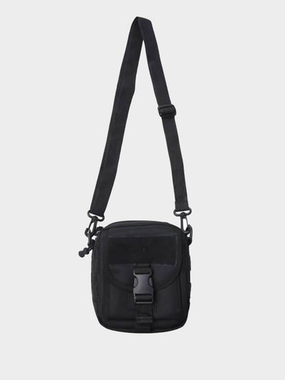 black tactical waist back that closes with a plastic buckle and with a black adjustable strap