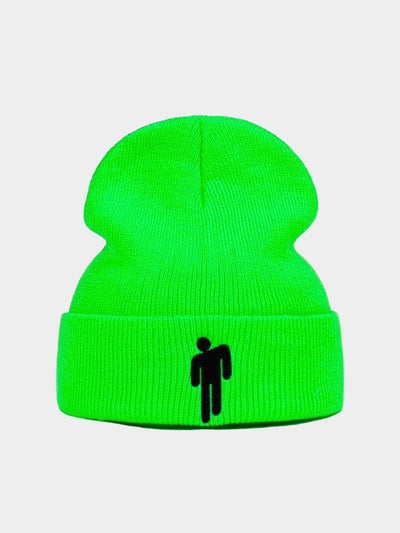 fluorescent green beanie hat with black the billie eilish logo embroidered on the front