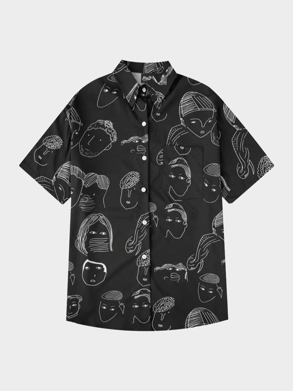 black shirt with white sketches faces