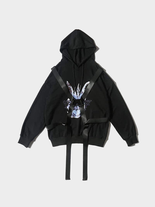 black hoodie with black tactical long straps