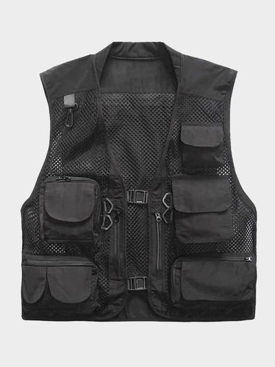 Black fishing vest with several pockets